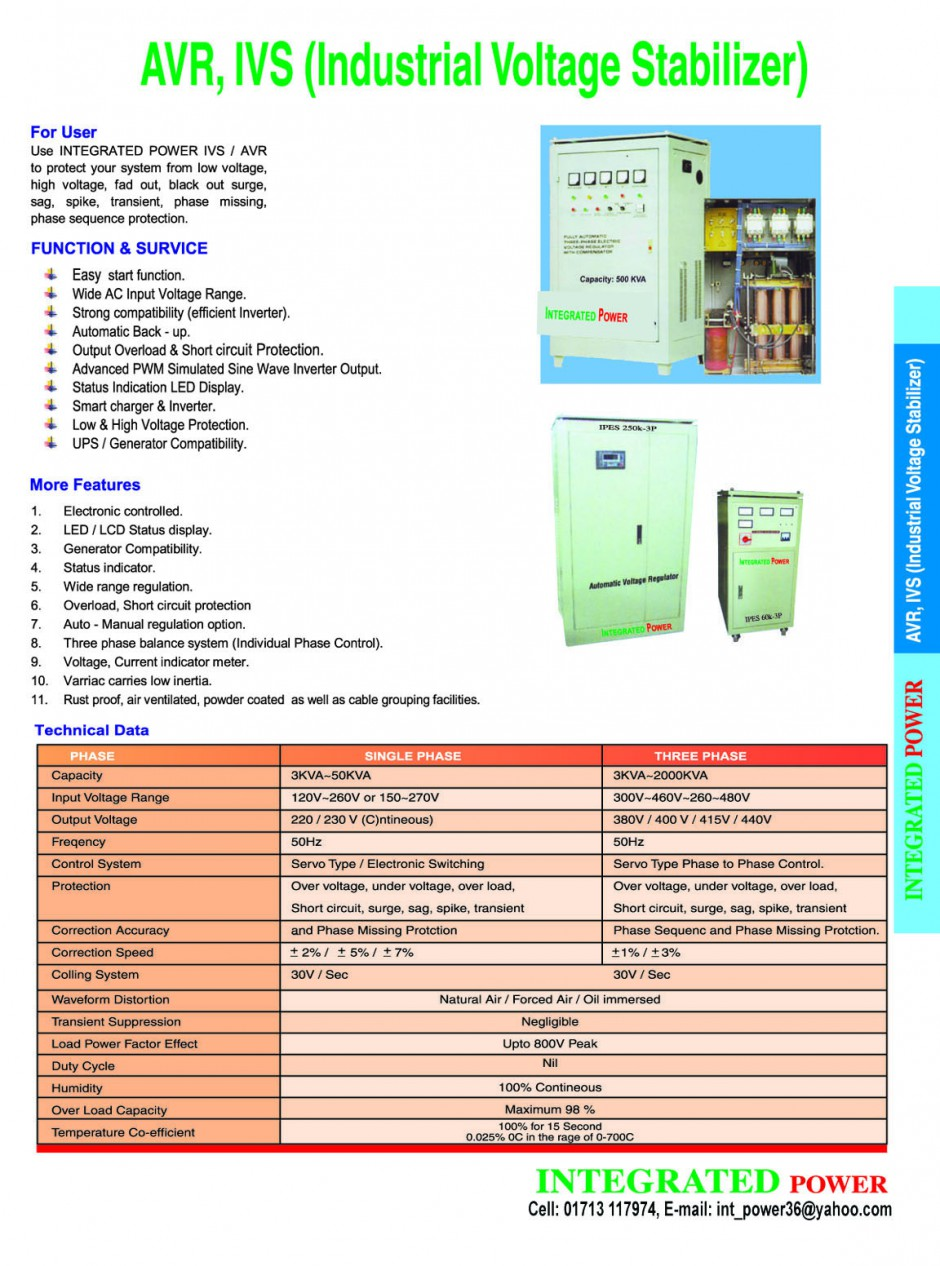 Ivs Industrial Voltage Stabilizer Integrated Power All Kind Of Automatic Control And Regulation Its Input